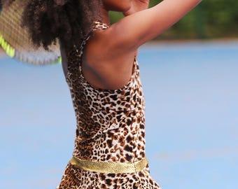 Leopard Animal Print RacerBack Girls Tennis Dress | Girls Tennis Clothes | Junior Tennis Wear Outfit