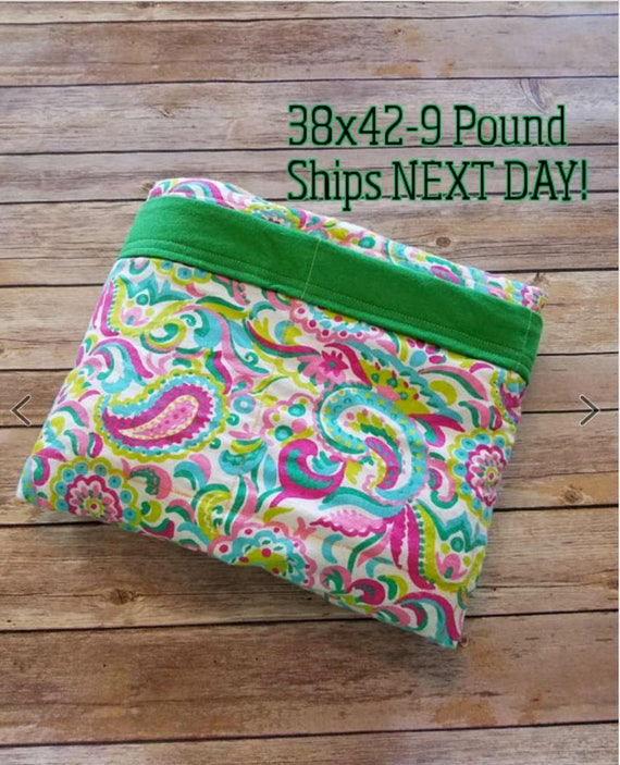 Paisley, 9 Pound, WEIGHTED BLANKET, Ready To Ship, 9 pounds, 38x42 for Autism, Sensory, ADHD