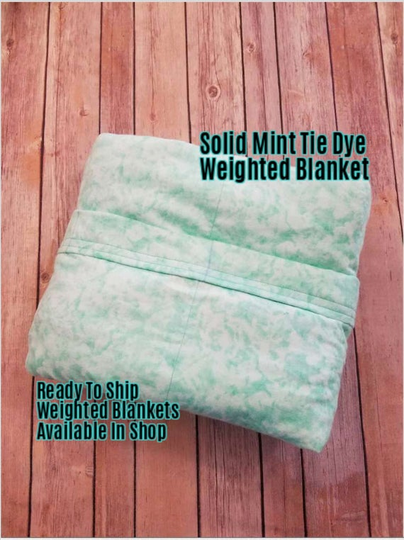 Solid Color, Weighted Blanket, Mint Tie Dye, Up to Twin Size 3 to 15 Pounds.  SPD, Autism, Weighted Blanket.