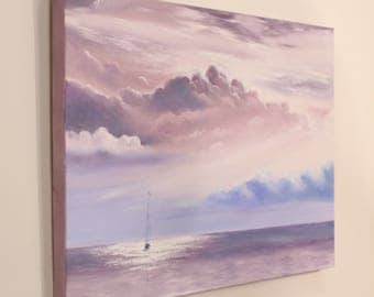 Sailboat Painting, Coastal Landscape, Boat, Ship, Seascape, Sailing, Ocean Art,  Large Original Oil Painting, Through The Clouds