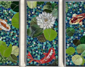Koi Pond Trilogy Mosaic Wall Art-Made to Order-Indoor or Outdoor Stained Glass Art