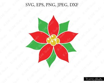 Christmas Svg, Christmas ornament svg, Christmas Clip Art, Poinsettia SVG, Winter svg, Holly Christmas svg, Cricut, Silhouette Cut File