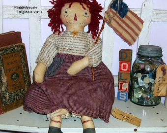 Raggedy Ann doll primitive handmade Annie with American Flag