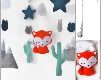 Mobile musical baby girl or boy nursery decor. With Fox, mountain, cactus, Star birthday gift