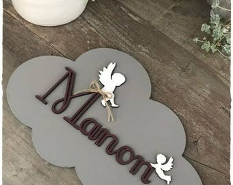 Plate cloud gray writing of your choice height 18.5 cm wooden initials