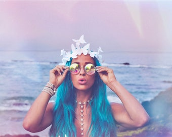 Moon Dancer Iridescent Butterfly Crown Holographic Festival Headpiece