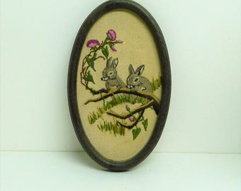 Rabbit framed canvas, finished Needlepoint long stitch, Wall Tapestry, Hanging Tapestries, Made in France, Completed canvases, Oval shape,