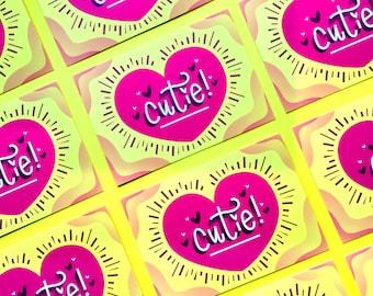 """Cutie Art Print - 4""""x6"""" print, Valentine's print, Illustrated print, lettering print"""