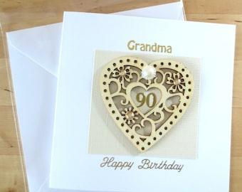 90th Birthday card,  90th birthday gift, for Mum, mom, Grandma, granny, gran, Great Gran, nan, nana, babcia, Grand-mère, Nonna, Oma, Abuela