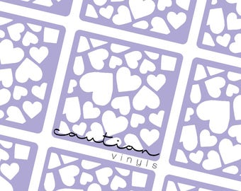 Scattered Hearts Nail Vinyl - Nail Stencil for Nail Art