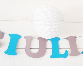 Garland name paper coated cotton - 3 to 8 letters + 2 elements - arrows and feathers