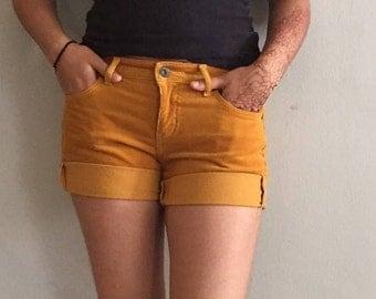 Mustard Yellow UniQlo Cuffed Shorts