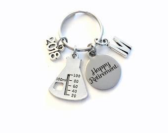 Retirement Gift for Chemist Laboratory Tech Keychain 2018 Chemistry Lab Beaker Boss Key chain Keyring Retire Coworker Initial letter teacher