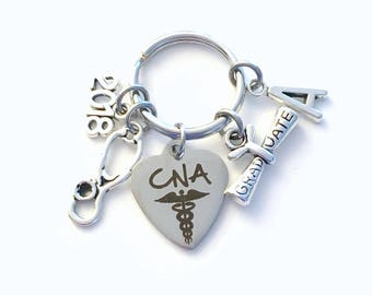 CNA Graduation Gift, 2018 Certified Nursing Assistant Keychain for Student Grad Key Chain Keyring Graduate initial letter 2019 Assistance