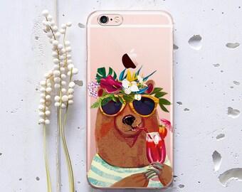 iPhone 7 Plus iPhone 6s Bear Print iPhone SE Case for Samsung Galaxy S7 Case, Samsung Galaxy S6 Case, Samsung Galaxy S7 Edge Case Animal 244