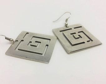 Square Spiral Earrings, Dangle Earrings