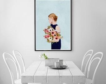 Digital Download Art, Girl With Flowers Digital Print Art, Figurative Art, Instant Download Printable Art, Large Wall Art Modern Art Print
