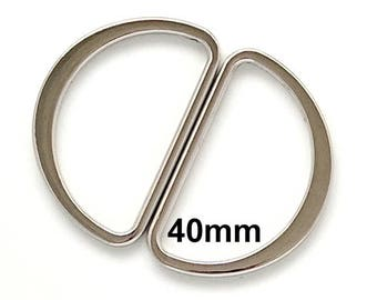Silver D Rings / 40mm D Rings / Silver Purse Hardware / 40mm Silver D-Rings / Silver Purse Supplies / SET of TWO