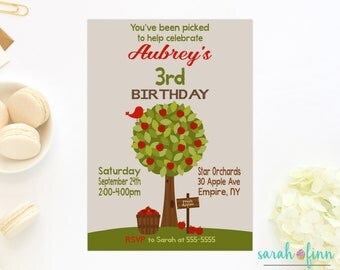 Apple Invitation, Apple Picking Invitation, Printable Invitation, Autumn, Fall Fun, Apple Orchard, Birthday Invitation, Apple Birthday Photo