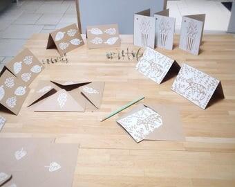 Cards in kraft card, linocut original linocut A6 2 shutters Fleur bear sheet Card Designer recycled paper