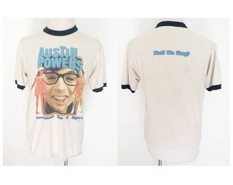 Vintage 90's Austin Powers shall we shag movie promo ringer tee tshirt