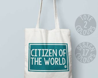 Citizen of the world eco friendly bag, personalized gift for feminist, birthday gift for nasty woman, europe, nevertheless she persisted