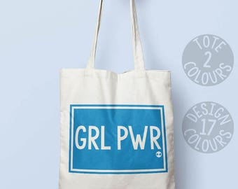 GRL PWR cotton tote bag, canvas tote bag, strong bag, present for women, gift for activist, protest march, feminist af, girl power, rights