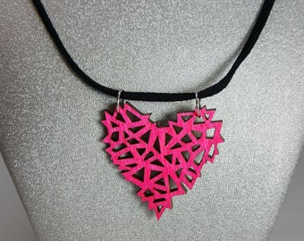 Neon Pink Geometric Wooden Heart Necklace / Laser Engraved Wood With Black Suede Cord And Silver Findings