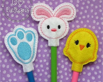 Easter Pencil Toppers in the hoop machine embroidery design
