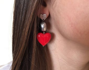 Earrings with resin heart//Valentine's Day gift idea