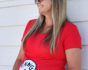 """Dr. Seuss """"Thing 1 and Thing 2"""" Maternity Mom Shirt - Baby Pregnancy Announcement Photo, Family Theme Costume, Thing 1 Thing 2 Birthday"""
