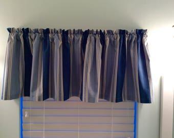 Blue Stripe Window Valance-Window Curtains-Home Decor-Kitchen Curtains-Striped Valance-Blue Valance-Blue Curtains-Stripe Curtains