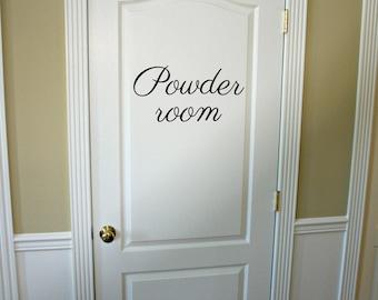 Powder Room Decal, Bathroom Door Sticker, Vinyl Lettering, Powder Room Sign, Door Vinyl Decal, Bathroom Wall Decal, Vinyl Graphics Door Sign