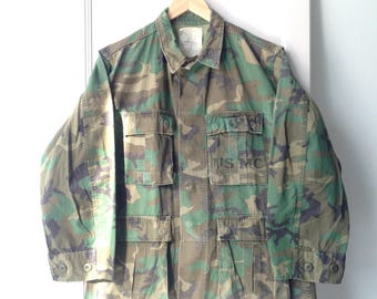 Vintage 1990s USMC Camouflage Military Jacket M Made In USA