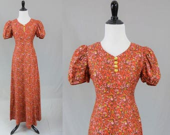 70s Maxi Dress - Red Pink Orange Yellow Green Calico - Floral Print - Puff Sleeves - Long Full Skirt - Vintage 1970s - S
