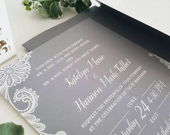 Lace Wedding Invitation, Grey Lace Wedding Invitation, Grey and Ivory Wedding, Vintage Wedding Invitation, Rustic Wedding Invitation, Lace