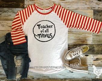 Adult Teacher of All Things White Raglan Shirt