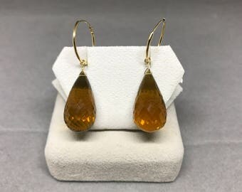 14k Yellow Gold Natural Smokey Quartz (30.00 ct) Earrings, Appraised 745 USD