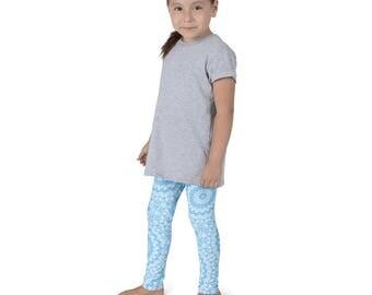 Baby Blue Leggings for Girls, Blue and White Kids Yoga Leggings, Children's Printed Leggings