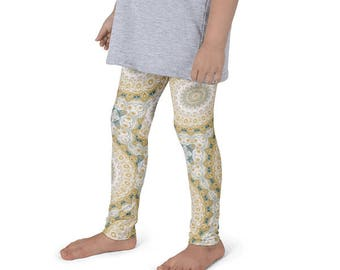 Kids Yoga Leggings, Mustard Yellow and Teal Mandala Patterned Leggings for Girls