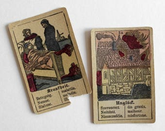 Antique Biedermeier Fortune Telling Cards - Antique Tarot Cards - Fortune Telling Deck