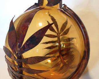 "Handmade Hanging 6 "" Amber Gazing Ball Copper Leave Wrap Around Garden Art"