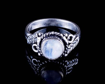 MOONSTONE LEAF RING silver indian tribal boho white brass leaves feather pretty ethnic gemstone bohemian jewelry BR14M