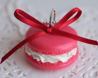 Raspberry Macaron Fimo whipped cream necklace, handmade polymer clay