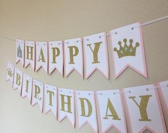 Princess Crown & Castle Happy Birthday Banner in Pink and Gold Glitter - Girls Birthday, Princess Birthday, Birthday Party