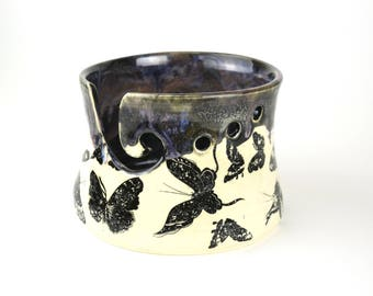 Knitting bowl yarn bowl with butterflies and galactic dripping glaze