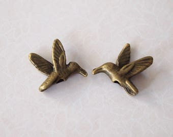 10 Metal Humming Bird 3D Beads Or Charms Antique Bronze Large Hole Size 14mm