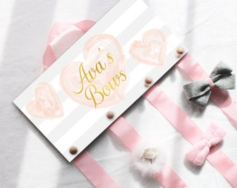 Hair Bow and/or Headband Holder, Bow Holder, Blush Hearts Bow Hanger, Headband Holder, Hair Bow Organizer, Pink and Gold Bow Hanger, Hearts