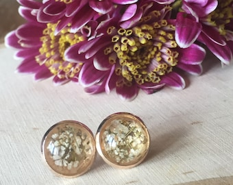 real wildflower earrings, gift for her