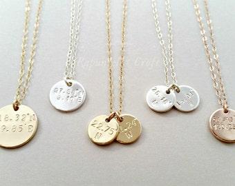 Custom Coordinates Disc Necklace | Coordinates Necklace | latitude longitude Location GPS | Disk necklace | 2 3 4 sisters | bridesmaids